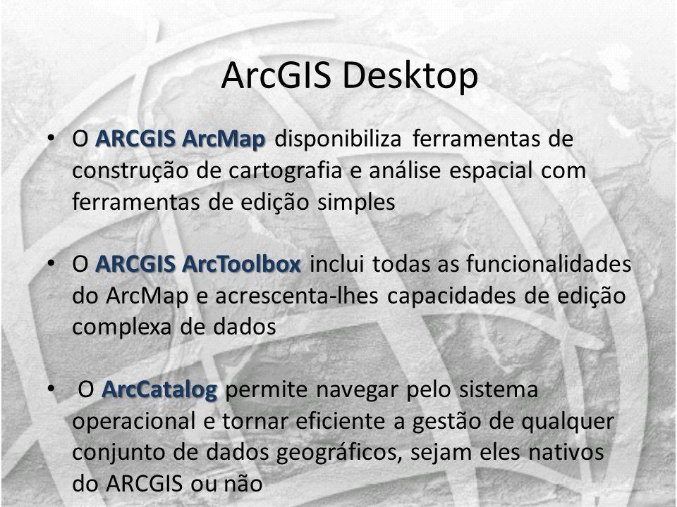 ARCGIS ArcMap O ARCGIS ArcMap disponibiliza ferramentas de construção de cartografia e análise espacial com ferramentas de edição simples ARCGIS ArcTo