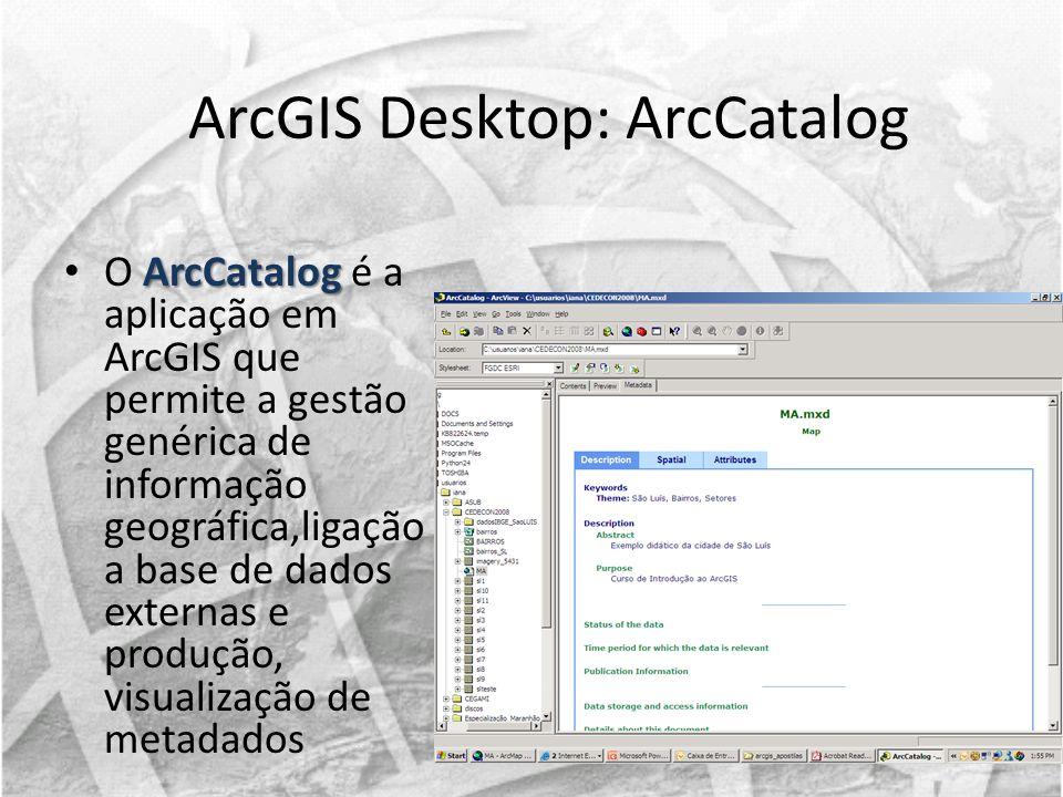 ArcGIS Desktop: ArcCatalog ArcCatalog O ArcCatalog é a aplicação em ArcGIS que permite a gestão genérica de informação geográfica,ligação a base de da