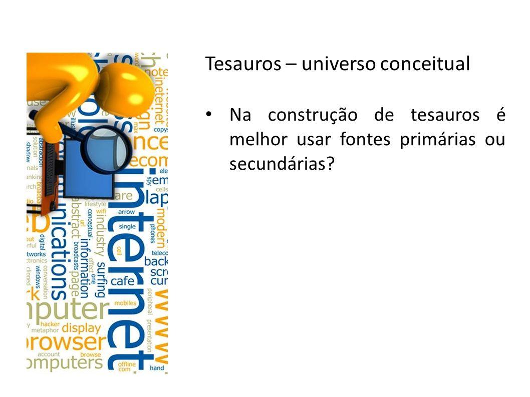 Tesauros – universo conceitual Na construção de tesauros é melhor usar fontes primárias ou secundárias?
