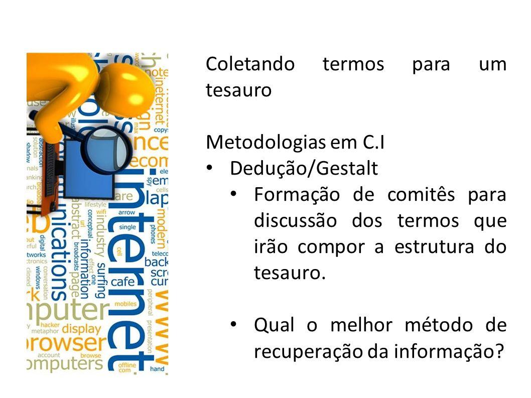 Coletando termos para um tesauro Metodologias em C.I Dedução/Gestalt Formação de comitês para discussão dos termos que irão compor a estrutura do tesa