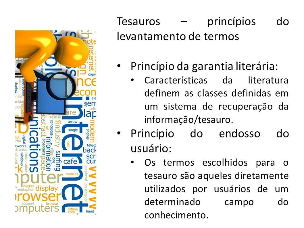 Tesauros – princípios do levantamento de termos Princípio da garantia literária: Características da literatura definem as classes definidas em um sist
