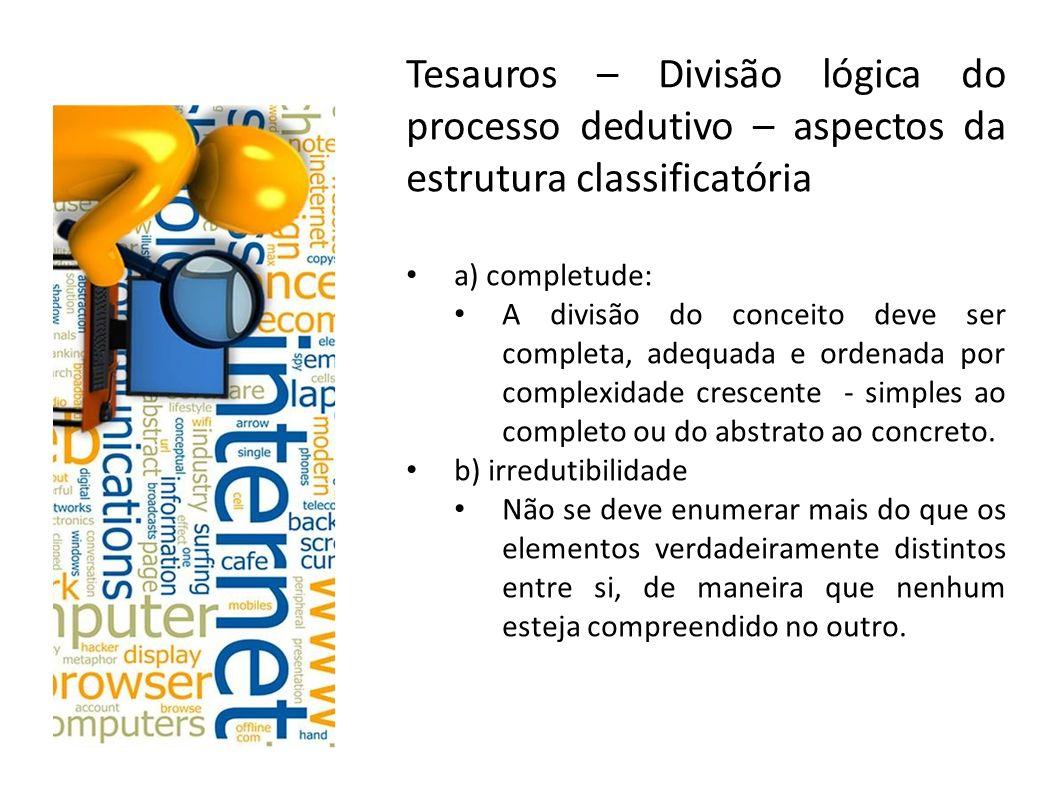 Tesauros – Divisão lógica do processo dedutivo – aspectos da estrutura classificatória a) completude: A divisão do conceito deve ser completa, adequad