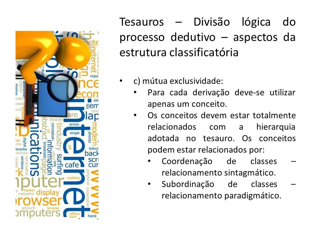 Tesauros – Divisão lógica do processo dedutivo – aspectos da estrutura classificatória c) mútua exclusividade: Para cada derivação deve-se utilizar ap