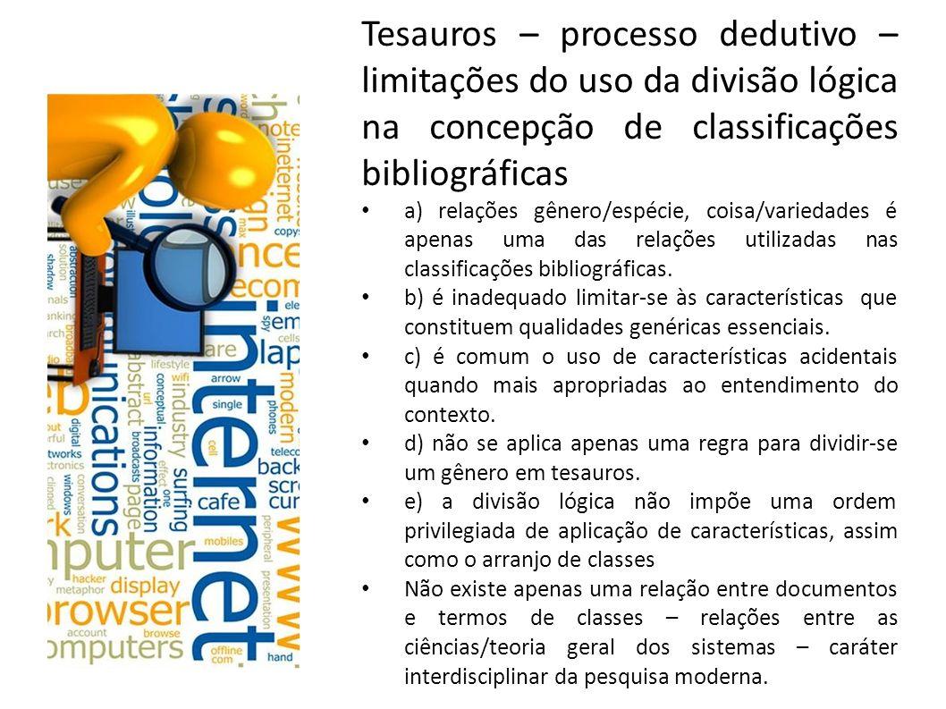Tesauros – processo dedutivo – limitações do uso da divisão lógica na concepção de classificações bibliográficas a) relações gênero/espécie, coisa/var