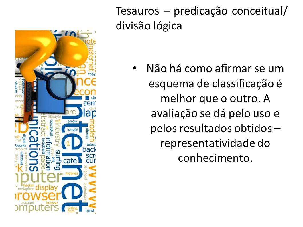 Tesauros – predicação conceitual/ divisão lógica Não há como afirmar se um esquema de classificação é melhor que o outro. A avaliação se dá pelo uso e