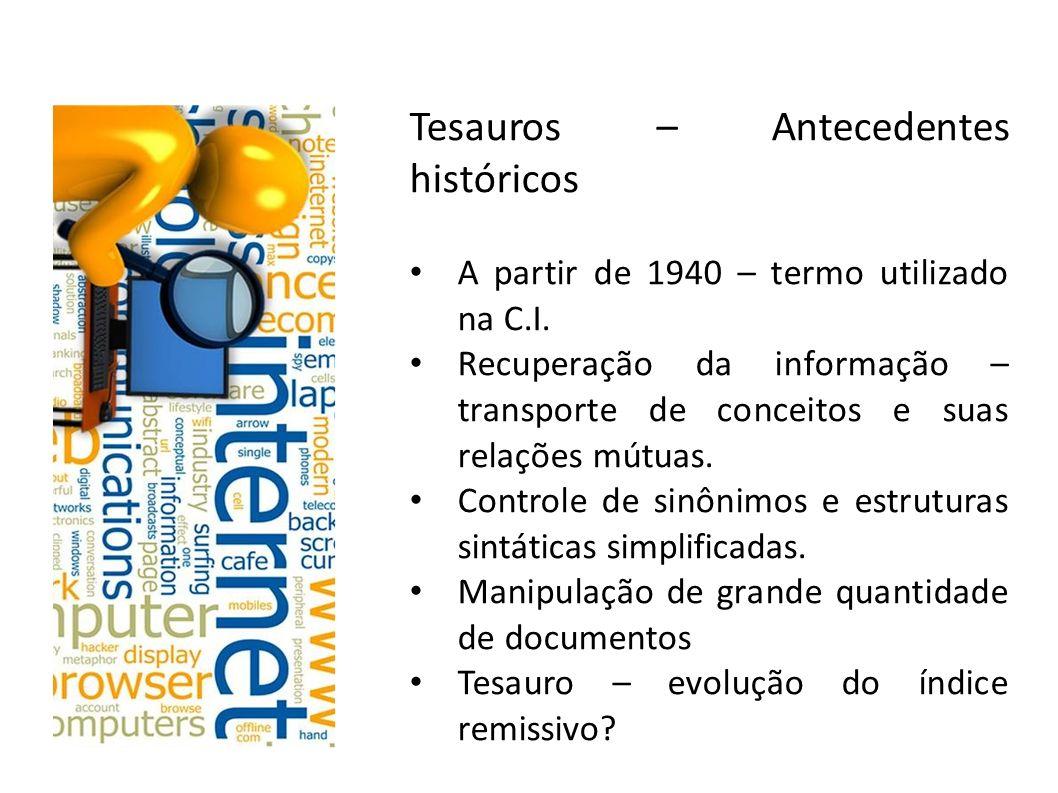 Tesauros – Antecedentes históricos A partir de 1940 – termo utilizado na C.I. Recuperação da informação – transporte de conceitos e suas relações mútu