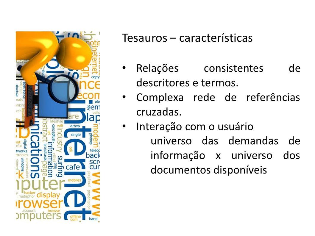 Tesauros – características Relações consistentes de descritores e termos. Complexa rede de referências cruzadas. Interação com o usuário universo das