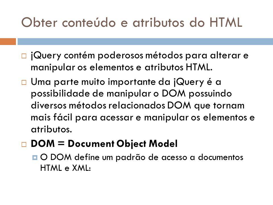 Obter conteúdo e atributos do HTML jQuery contém poderosos métodos para alterar e manipular os elementos e atributos HTML. Uma parte muito importante