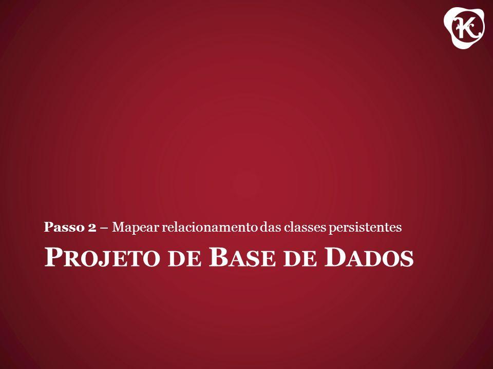 P ROJETO DE B ASE DE D ADOS Passo 2 – Mapear relacionamento das classes persistentes
