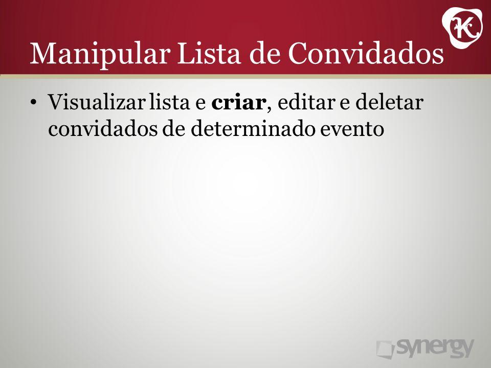 Manipular Lista de Convidados Visualizar lista e criar, editar e deletar convidados de determinado evento