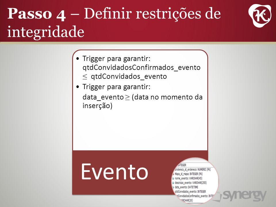 Trigger para garantir: qtdConvidadosConfirmados_evento qtdConvidados_evento Trigger para garantir: data_evento (data no momento da inserção) Evento