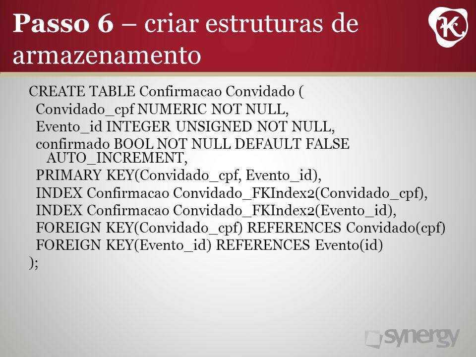 Passo 6 – criar estruturas de armazenamento CREATE TABLE Confirmacao Convidado ( Convidado_cpf NUMERIC NOT NULL, Evento_id INTEGER UNSIGNED NOT NULL, confirmado BOOL NOT NULL DEFAULT FALSE AUTO_INCREMENT, PRIMARY KEY(Convidado_cpf, Evento_id), INDEX Confirmacao Convidado_FKIndex2(Convidado_cpf), INDEX Confirmacao Convidado_FKIndex2(Evento_id), FOREIGN KEY(Convidado_cpf) REFERENCES Convidado(cpf) FOREIGN KEY(Evento_id) REFERENCES Evento(id) );