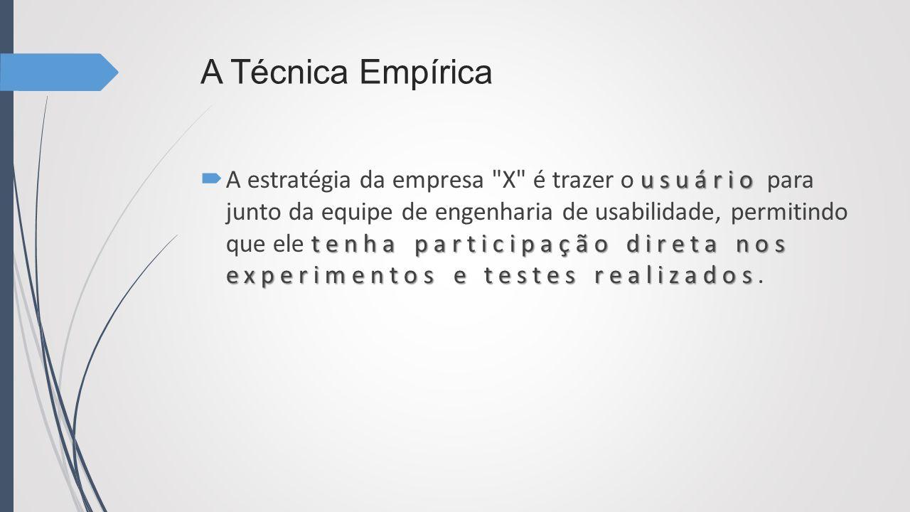 A Técnica Empírica usuário tenha participação direta nos experimentos e testes realizados A estratégia da empresa