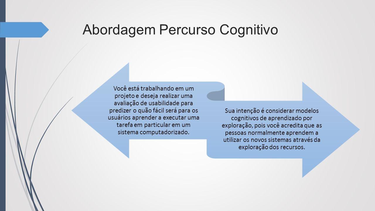 Abordagem Percurso Cognitivo Você está trabalhando em um projeto e deseja realizar uma avaliação de usabilidade para predizer o quão fácil será para o