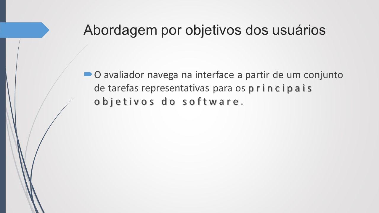 Abordagem por objetivos dos usuários principais objetivos do software O avaliador navega na interface a partir de um conjunto de tarefas representativ