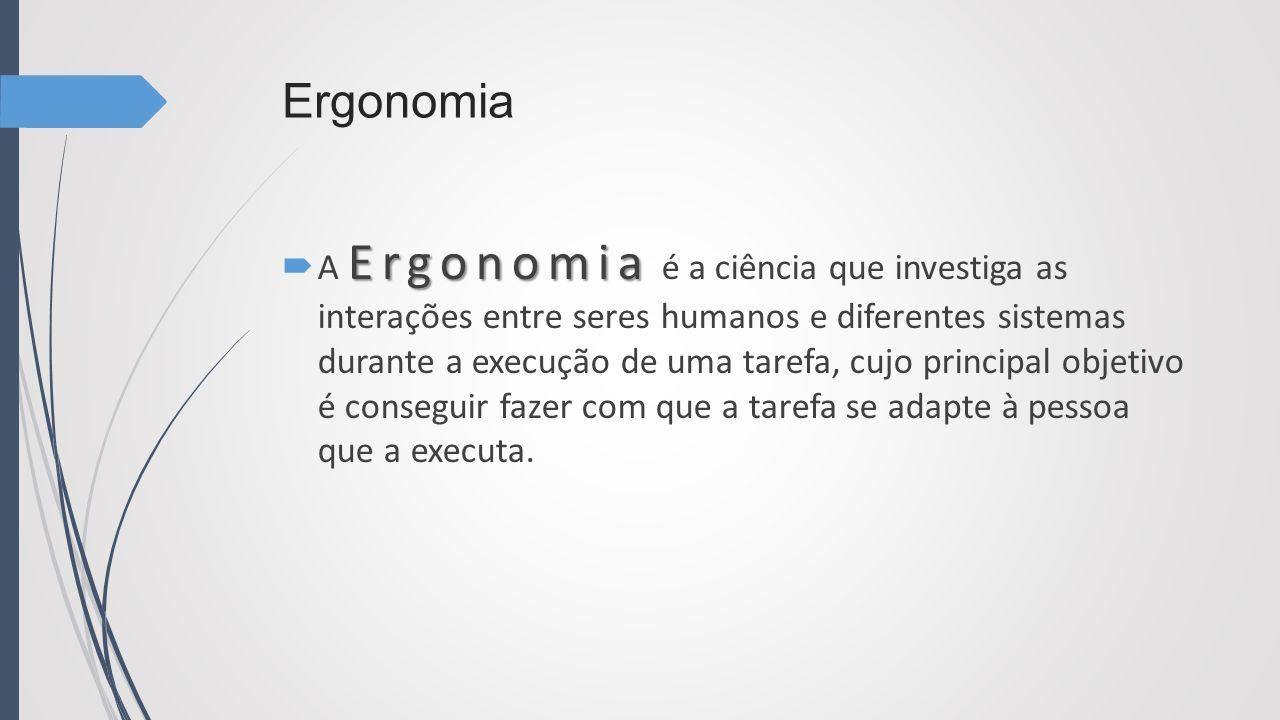 Ergonomia Ergonomia A Ergonomia é a ciência que investiga as interações entre seres humanos e diferentes sistemas durante a execução de uma tarefa, cu