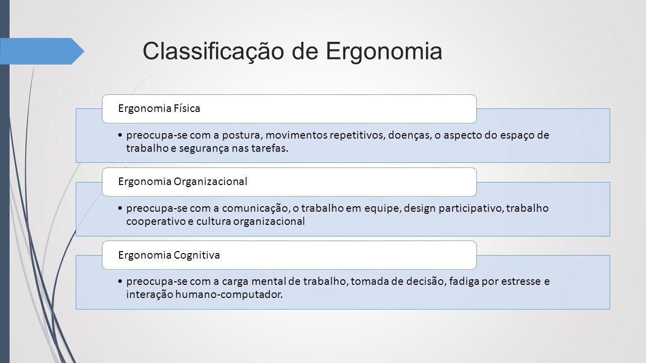 Classificação de Ergonomia preocupa-se com a postura, movimentos repetitivos, doenças, o aspecto do espaço de trabalho e segurança nas tarefas. Ergono
