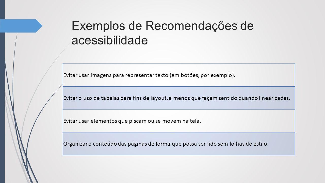 Exemplos de Recomendações de acessibilidade Evitar usar imagens para representar texto (em botões, por exemplo). Evitar o uso de tabelas para fins de