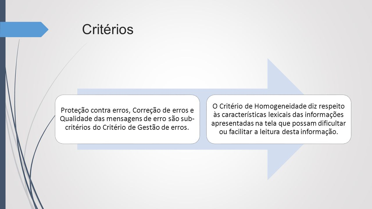 Critérios Proteção contra erros, Correção de erros e Qualidade das mensagens de erro são sub- critérios do Critério de Gestão de erros. O Critério de