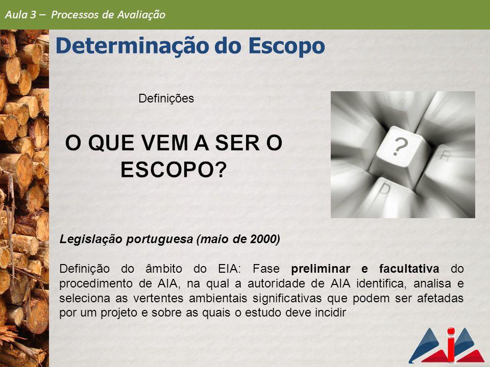 Definições Legislação portuguesa (maio de 2000) Definição do âmbito do EIA: Fase preliminar e facultativa do procedimento de AIA, na qual a autoridade