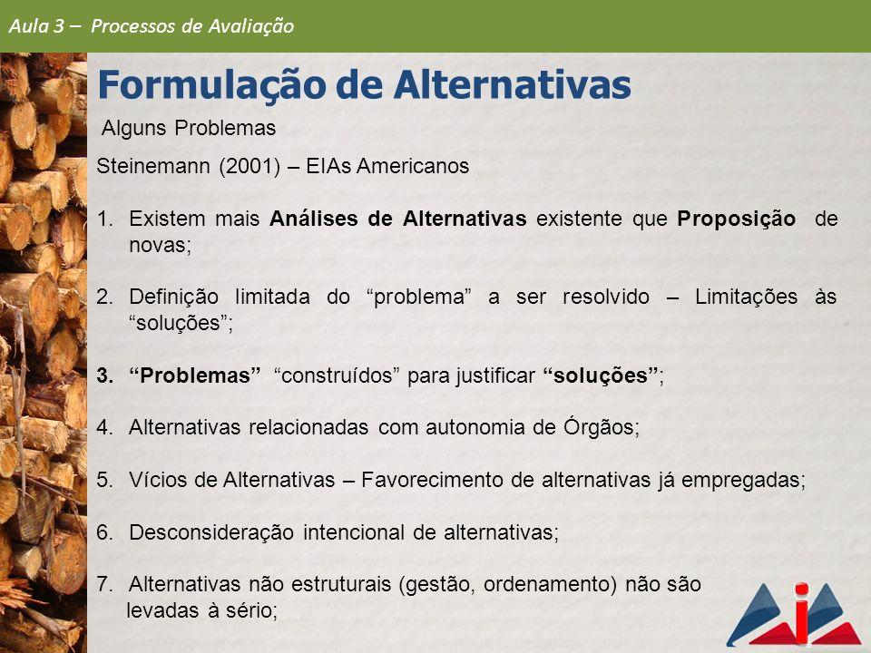Alguns Problemas Steinemann (2001) – EIAs Americanos 1.Existem mais Análises de Alternativas existente que Proposição de novas; 2.Definição limitada d