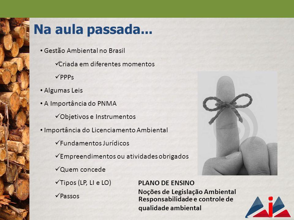 Na aula passada... Gestão Ambiental no Brasil Criada em diferentes momentos PPPs Algumas Leis A Importância do PNMA Objetivos e Instrumentos Importânc