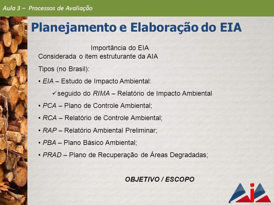 Importância do EIA Considerada o item estruturante da AIA Tipos (no Brasil): EIA – Estudo de Impacto Ambiental: seguido do RIMA – Relatório de Impacto