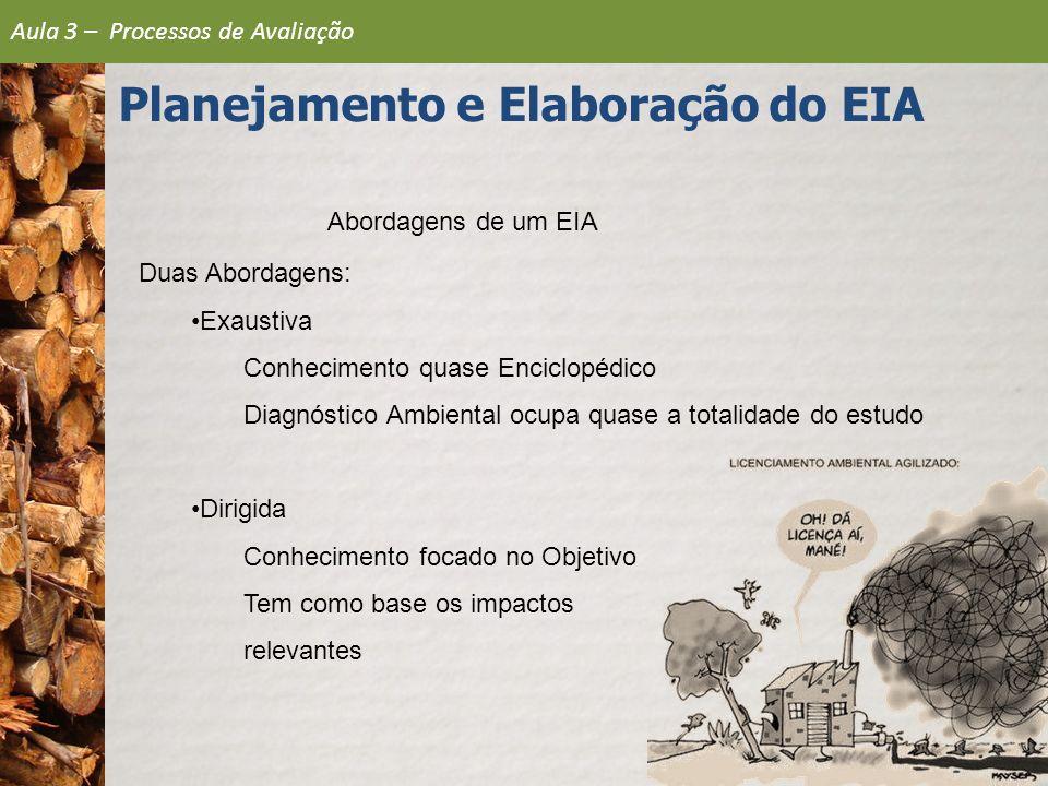Abordagens de um EIA Duas Abordagens: Exaustiva Conhecimento quase Enciclopédico Diagnóstico Ambiental ocupa quase a totalidade do estudo Dirigida Con