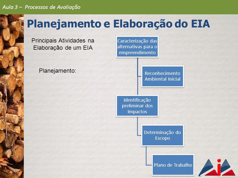 Principais Atividades na Elaboração de um EIA Planejamento: Caracterização das alternativas para o empreendimento Identificação preliminar dos Impacto