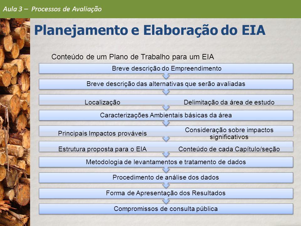 Conteúdo de um Plano de Trabalho para um EIA Compromissos de consulta pública Forma de Apresentação dos Resultados Procedimento de análise dos dados M