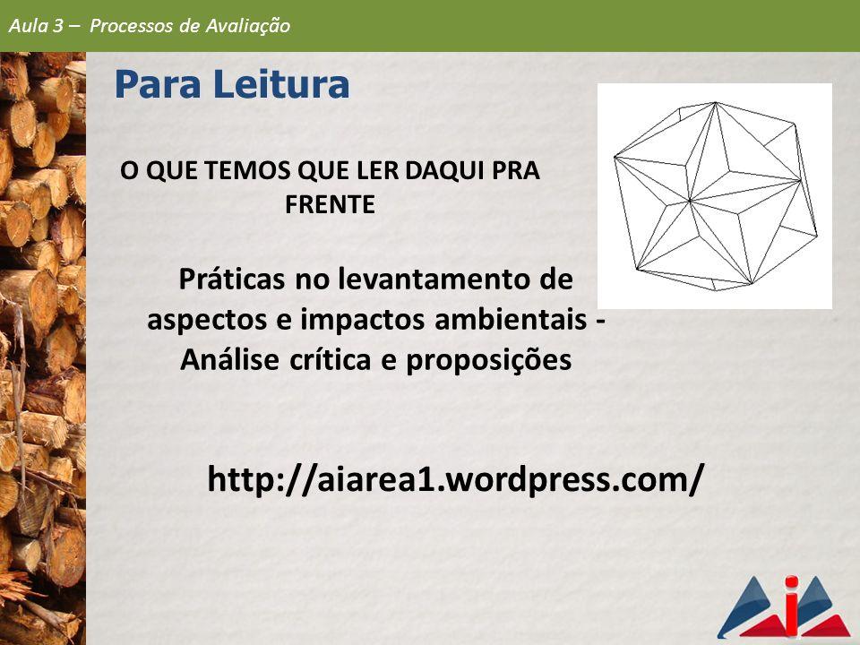 Práticas no levantamento de aspectos e impactos ambientais - Análise crítica e proposições http://aiarea1.wordpress.com/ Aula 3 – Processos de Avaliaç