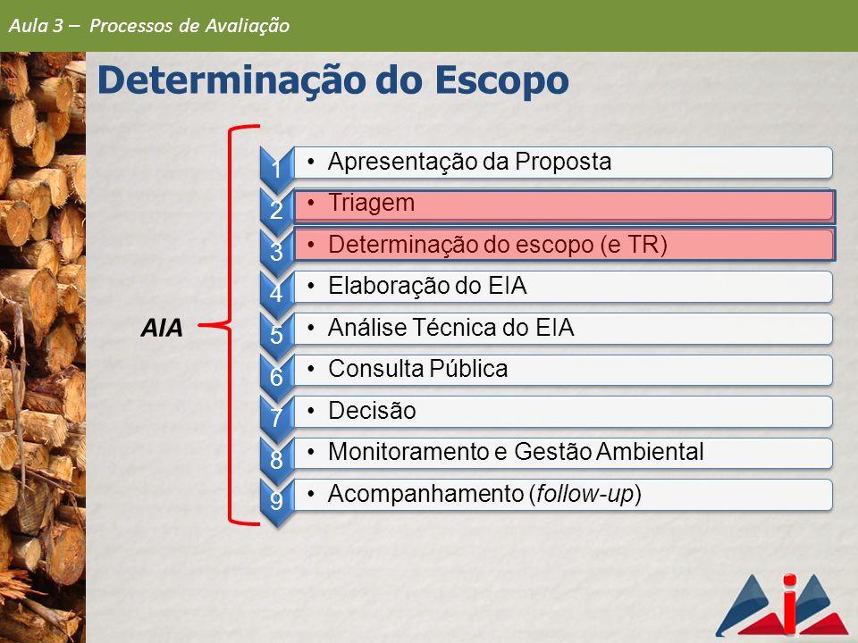 Definições Legislação portuguesa (maio de 2000) Definição do âmbito do EIA: Fase preliminar e facultativa do procedimento de AIA, na qual a autoridade de AIA identifica, analisa e seleciona as vertentes ambientais significativas que podem ser afetadas por um projeto e sobre as quais o estudo deve incidir Determinação do Escopo Aula 3 – Processos de Avaliação