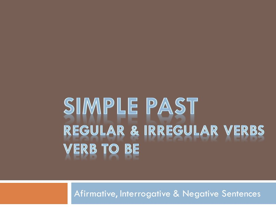 Afirmative, Interrogative & Negative Sentences