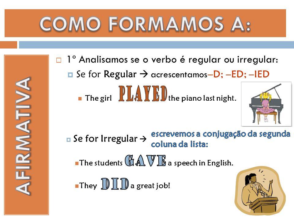 1º Analisamos se o verbo é regular ou irregular: Se for Regular acrescentamos The girl the piano last night.