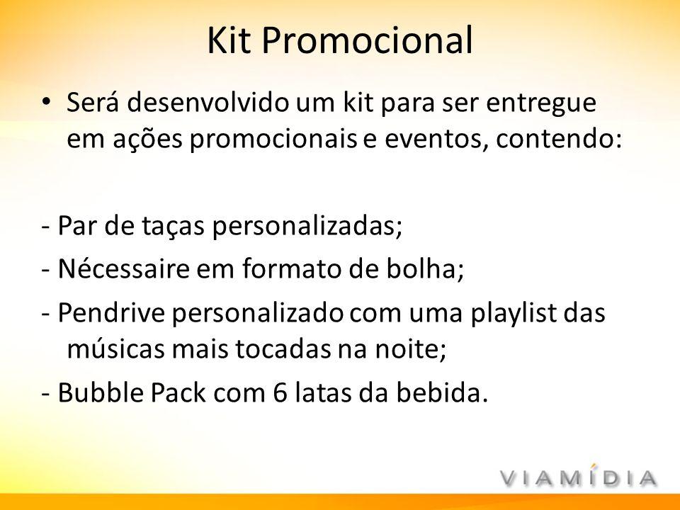 Kit Promocional Será desenvolvido um kit para ser entregue em ações promocionais e eventos, contendo: - Par de taças personalizadas; - Nécessaire em f