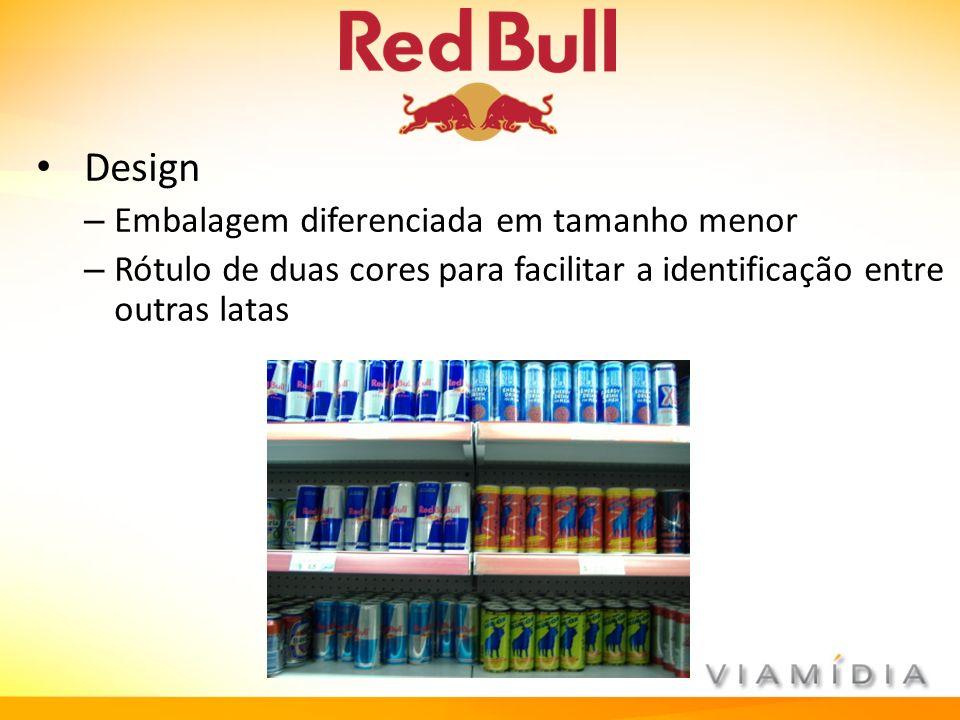 Design – Embalagem diferenciada em tamanho menor – Rótulo de duas cores para facilitar a identificação entre outras latas