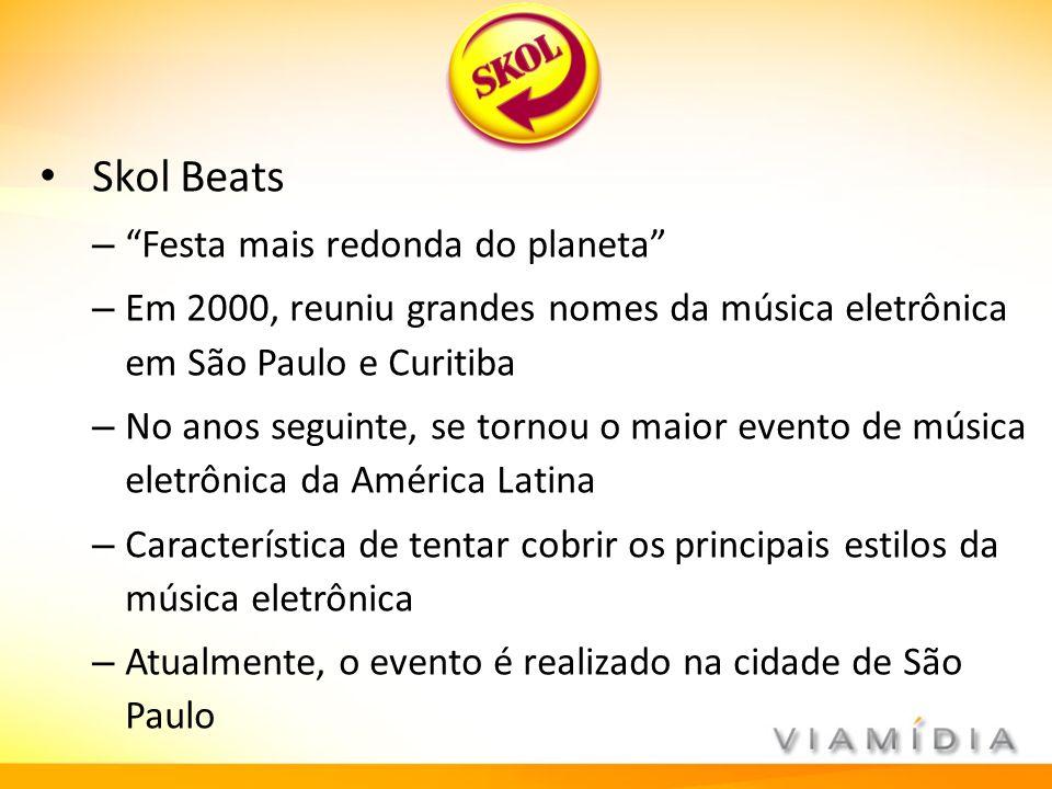 Skol Beats – Festa mais redonda do planeta – Em 2000, reuniu grandes nomes da música eletrônica em São Paulo e Curitiba – No anos seguinte, se tornou
