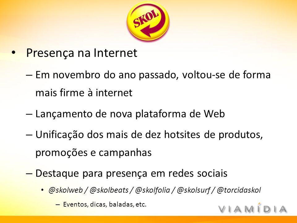 Presença na Internet – Em novembro do ano passado, voltou-se de forma mais firme à internet – Lançamento de nova plataforma de Web – Unificação dos ma