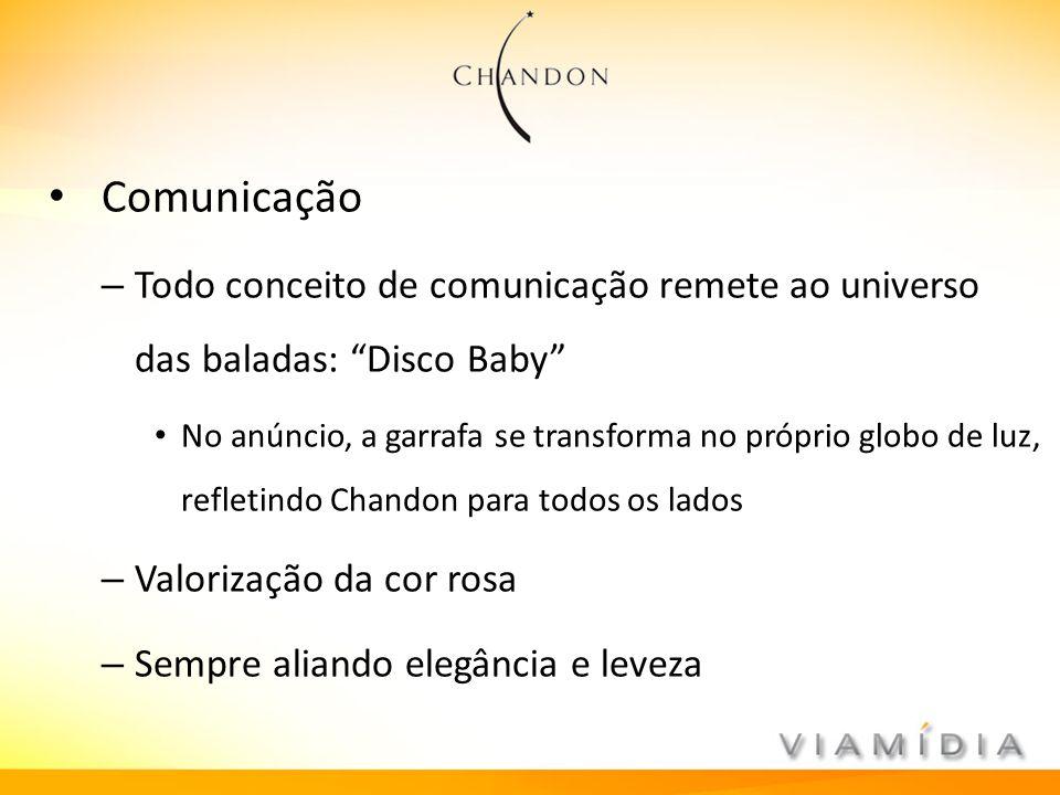 Comunicação – Todo conceito de comunicação remete ao universo das baladas: Disco Baby No anúncio, a garrafa se transforma no próprio globo de luz, ref