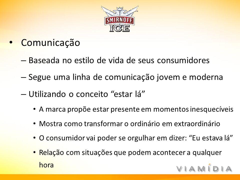 Comunicação – Baseada no estilo de vida de seus consumidores – Segue uma linha de comunicação jovem e moderna – Utilizando o conceito estar lá A marca