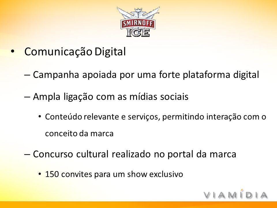 Comunicação Digital – Campanha apoiada por uma forte plataforma digital – Ampla ligação com as mídias sociais Conteúdo relevante e serviços, permitind