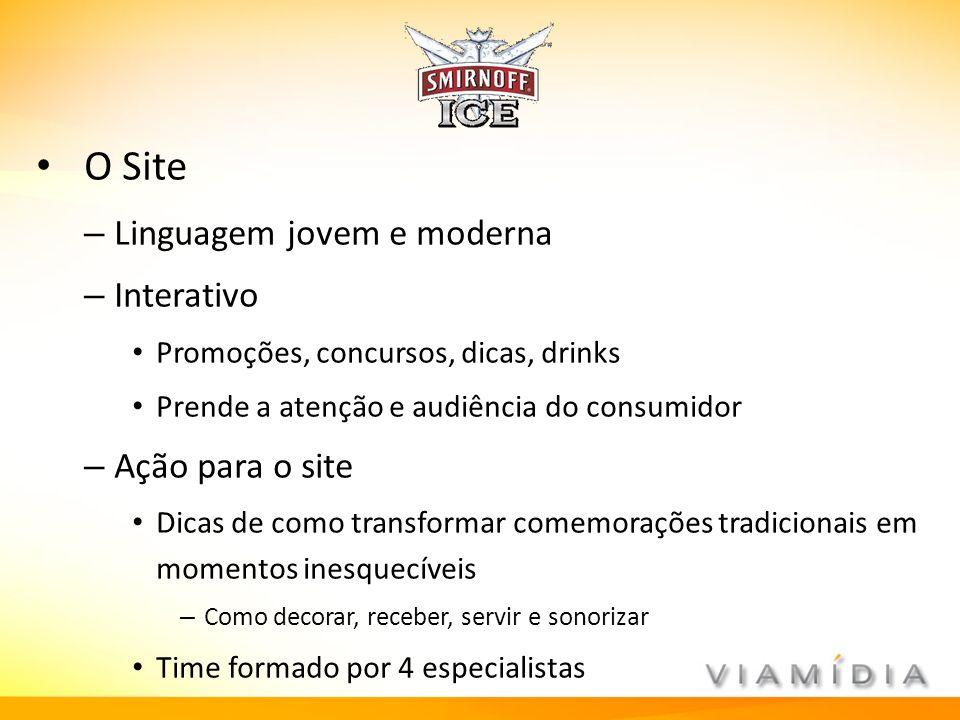 O Site – Linguagem jovem e moderna – Interativo Promoções, concursos, dicas, drinks Prende a atenção e audiência do consumidor – Ação para o site Dica