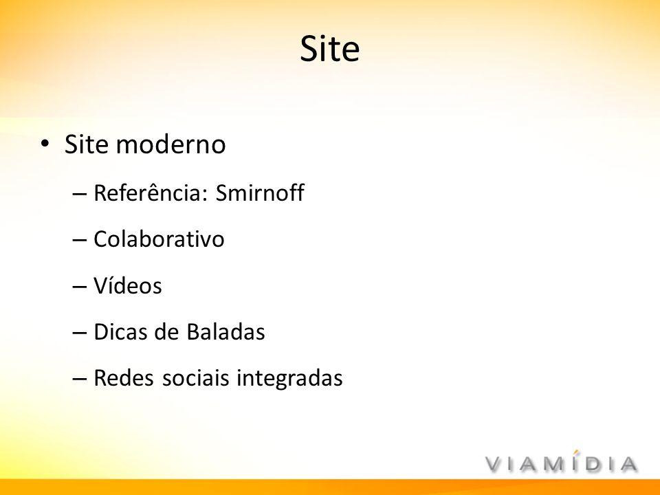 Site Site moderno – Referência: Smirnoff – Colaborativo – Vídeos – Dicas de Baladas – Redes sociais integradas