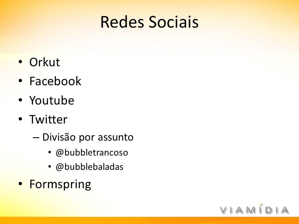 Redes Sociais Orkut Facebook Youtube Twitter – Divisão por assunto @bubbletrancoso @bubblebaladas Formspring