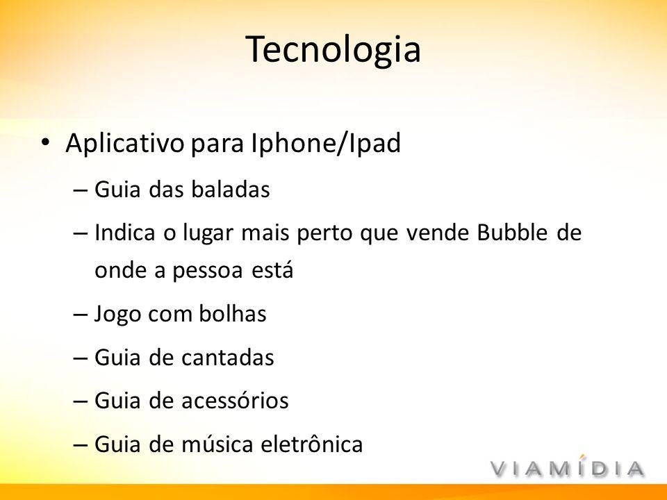 Tecnologia Aplicativo para Iphone/Ipad – Guia das baladas – Indica o lugar mais perto que vende Bubble de onde a pessoa está – Jogo com bolhas – Guia