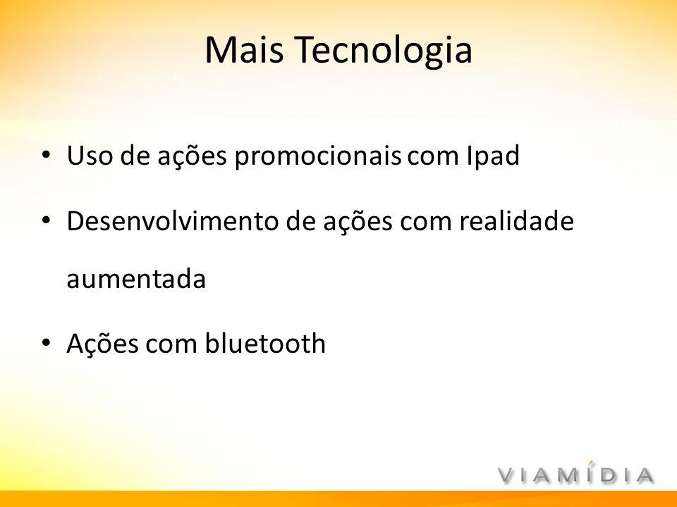 Mais Tecnologia Uso de ações promocionais com Ipad Desenvolvimento de ações com realidade aumentada Ações com bluetooth