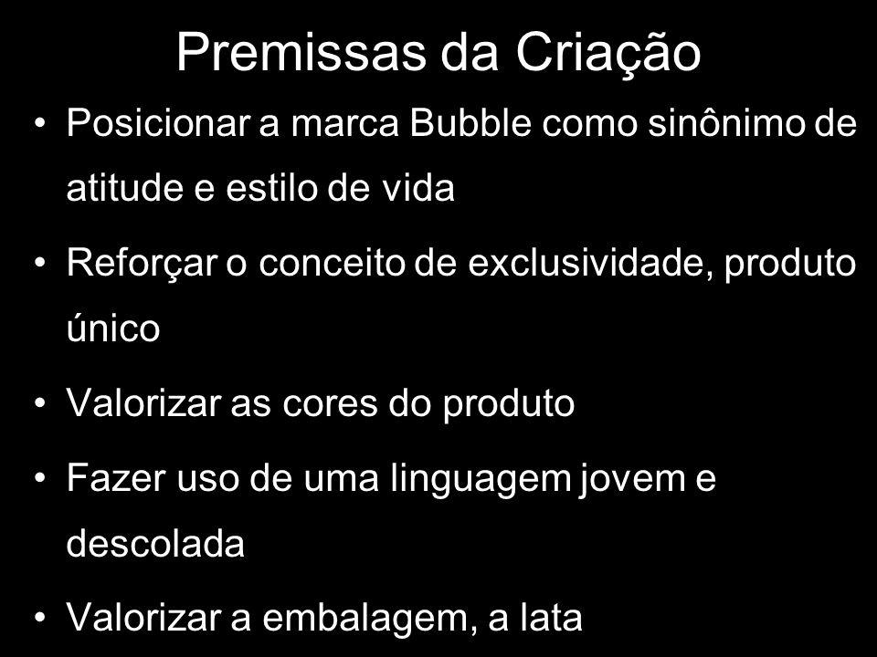 Premissas da Criação Posicionar a marca Bubble como sinônimo de atitude e estilo de vida Reforçar o conceito de exclusividade, produto único Valorizar