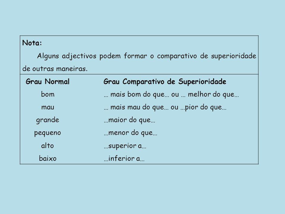 Nota: Alguns adjectivos podem formar o comparativo de superioridade de outras maneiras. Grau NormalGrau Comparativo de Superioridade bom… mais bom do
