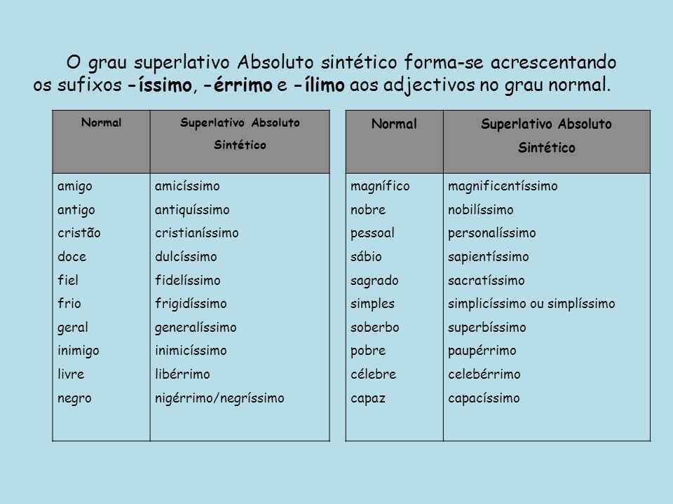 O grau superlativo Absoluto sintético forma-se acrescentando os sufixos -íssimo, -érrimo e -ílimo aos adjectivos no grau normal. Normal Superlativo Ab