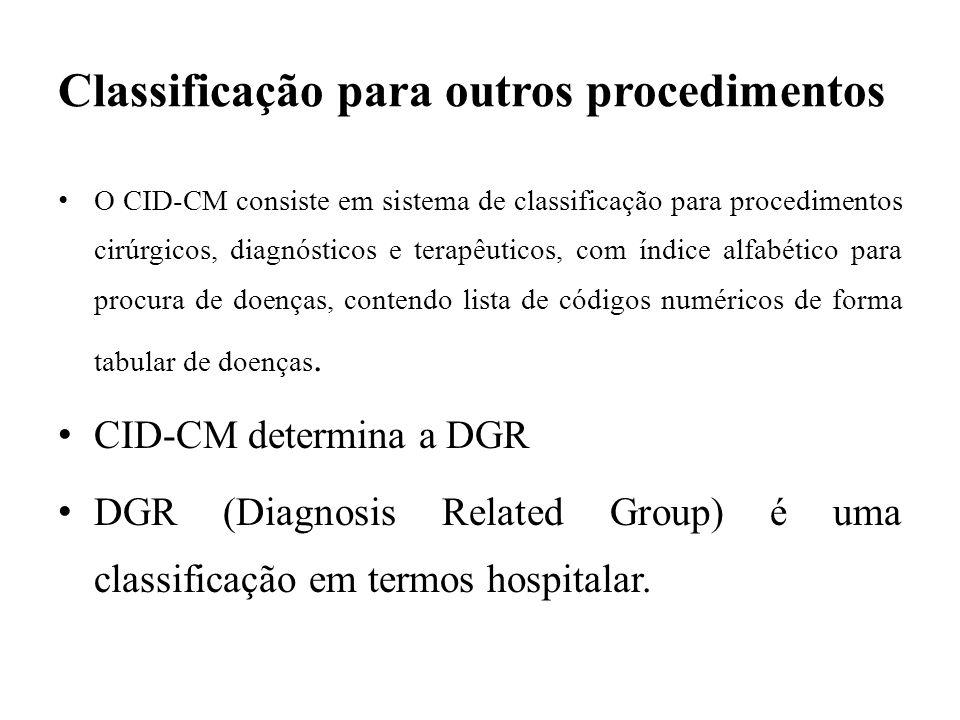 Classificação para outros procedimentos O CID-CM consiste em sistema de classificação para procedimentos cirúrgicos, diagnósticos e terapêuticos, com